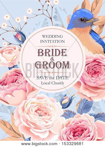Vector vintage wedding invitation with roses and birds