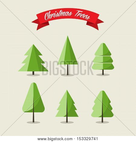 Set of six Christmas tress, vector illustration