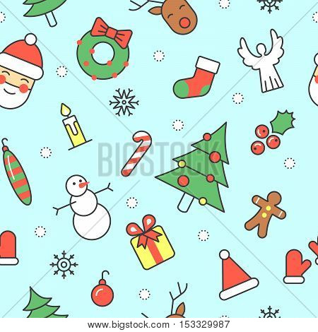 Merry Christmas and Happy New Year Seamless Pattern with Santa Snowman and Christmas Tree. Winter Holidays Wrapping Paper. Vector Background