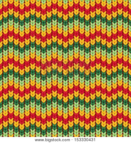 Knitter seamless pattern with stripes and zigzag. Colorful texture, vector background. Retro seamless pattern with orange, pink, green and violet colors.