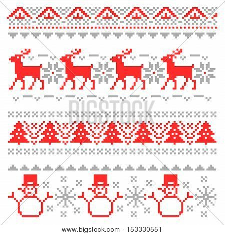Merry Christmas Traditional Scandinavian Knitting Pixel Borders with Reindeer and Christmas Tree. Vector illustration