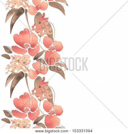 Watercolor illustration with leaves and flowers. Seamless border 11