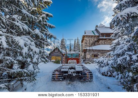 Snow Groomer In Tatra Mountains In Winter, Poland