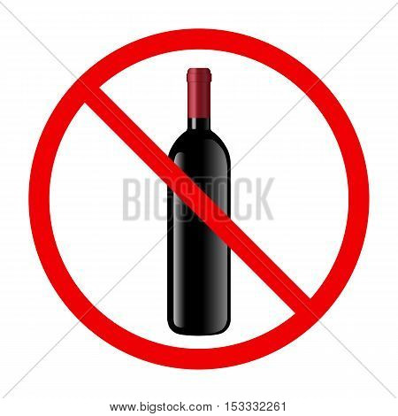 Non alcohol symbol with wine bottle and glass