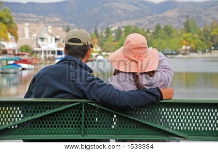 Couple By The Lake - Looking