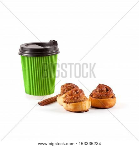Cinnamon bun and coffee cup isolated on white background. Home baking
