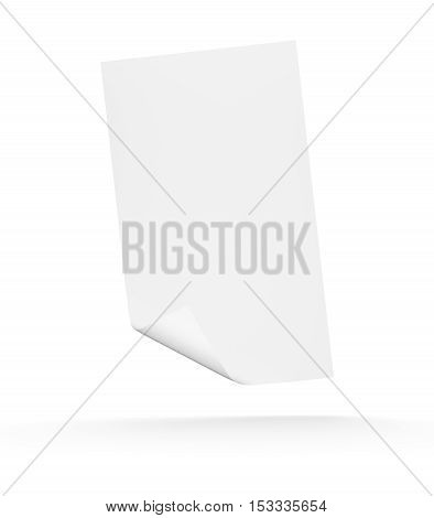 3d blank sheet of paper fall down. Paper page with curl over white background