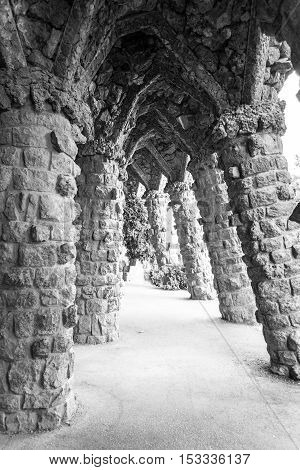 Walking Around Park Guell In Barcelona