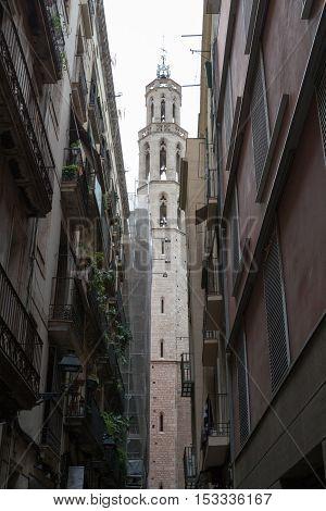Santa Maria Del Mar In The Gothic Quarters Of Barcelona