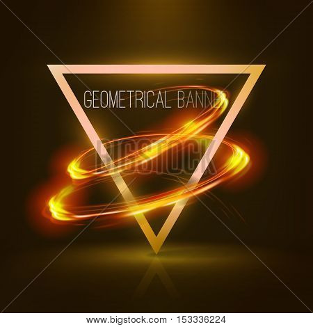 Geometrical banners with orange neon lights . 3d triangle vector banner with fire blurry circles at motion. Light painting on banner .