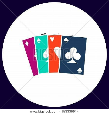 Poker Cards Simple vector button. Illustration symbol. Color flat icon