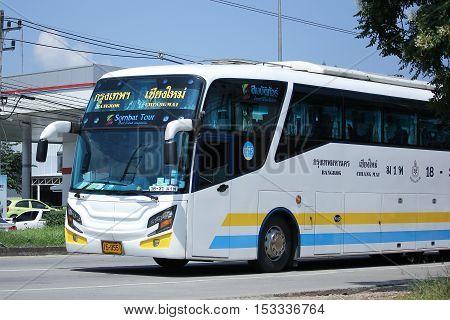 CHIANGMAI THAILAND - OCTOBER 8 2016: Scania 15 Meter Bus of Sombattour company. Route Bangkok and Chiangmai. Photo at road no.121 Chiangmai thailand.