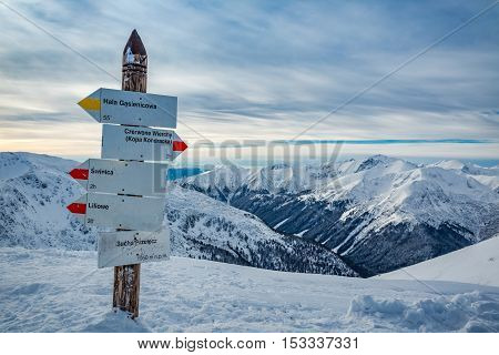Signpost On A Mountain Trail In The Winter, Tatra Mountains
