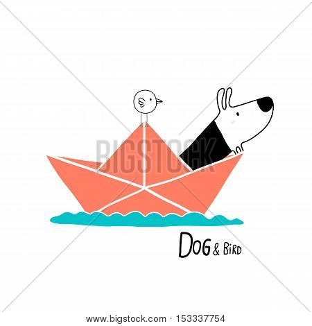 Dog & Bird in a paper boat character design
