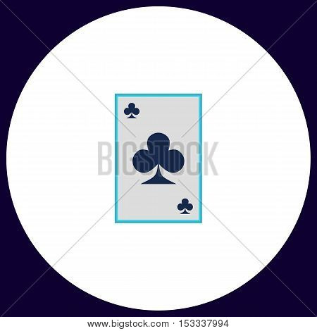 Clubs card Simple vector button. Illustration symbol. Color flat icon