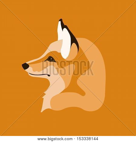 Fox head vector illustration style Flat profile