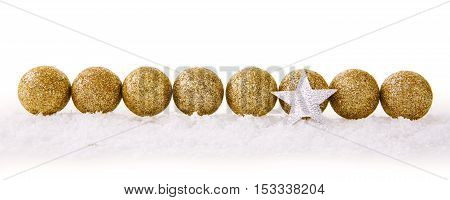 Christmas decoration with snow and star isolated on white background.