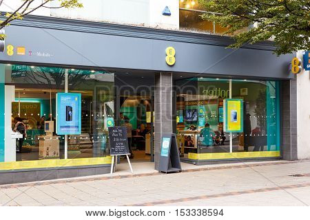 NOTTINGHAM ENGLAND - OCTOBER 22: Frontage of the EE mobile phone store. On Listergate Nottingham England. On 22nd October 2016.