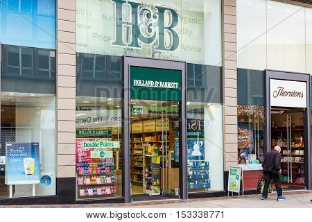 NOTTINGHAM ENGLAND - OCTOBER 22: Frontage of the Holland & Barrett store. On Listergate Nottingham England. On 22nd October 2016.