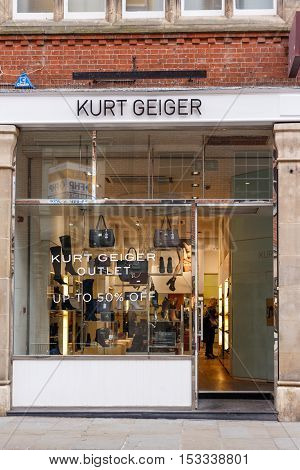 NOTTINGHAM ENGLAND - OCTOBER 22: Frontage of the Kurt Geiger store on Bridlesmith Gate. In Nottingham England. On 22nd October 2016.
