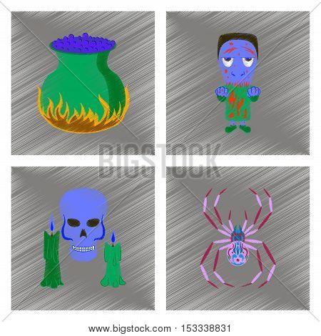 assembly flat shading style icon of potion cauldron zombie men spider