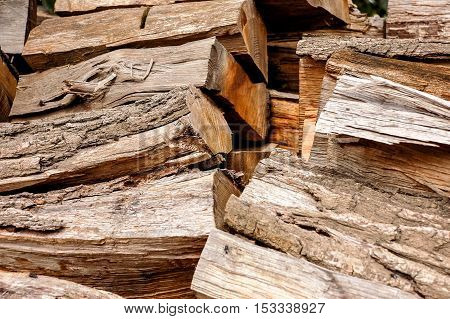 woodpile, logs for firewood texture background in autumn, ready for winter