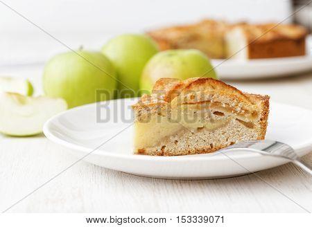 Homemade Apple Custard Pie On White Table