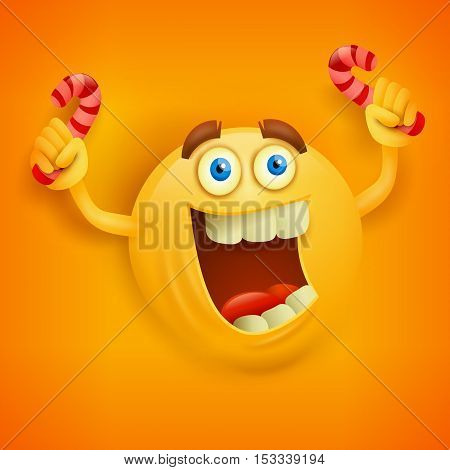 Happy toothy yellow round face with candys. Vector illustration