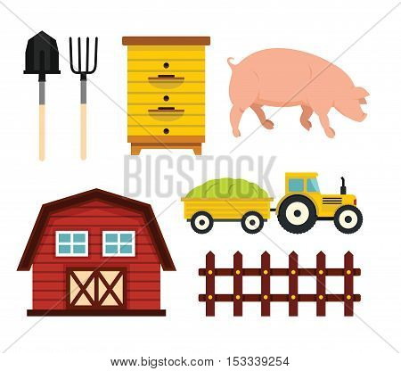 Farm elements in cartoon flat style. Vector illustration