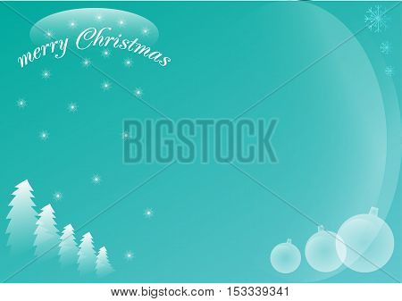 blue winter Christmas card with christmas tree and text