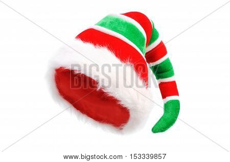Red Green Cap of the Christmas Elf. Isolated over white