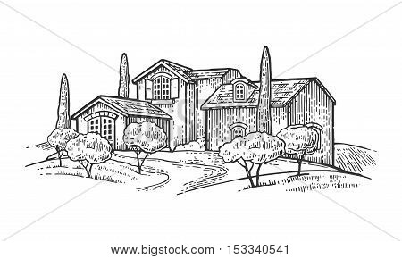 Rural landscape with villa or farm with field olive tree and cypress. Vector engraving vintage black illustration. Isolated on white background.