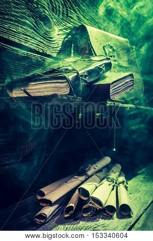 Vintage Witch Hut Full Of Scrolls And Books With Green Light For Halloween