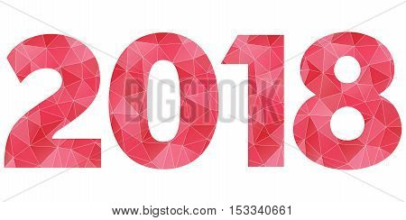 Happy New Year 2018 vector red and pink polygonal symbol isolated