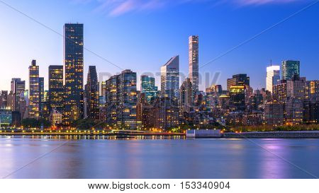 New York City skyline of Midtown Manhattan from across the Hudson River.