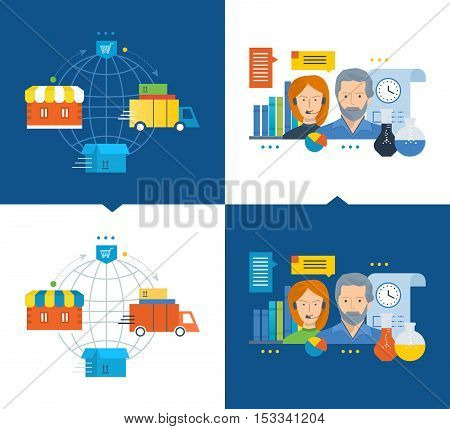 Concept of illustration - a full cycle of acquisition of goods from purchase to delivery process, modern online support, research. Vector illustrations are shown on a light and dark background.