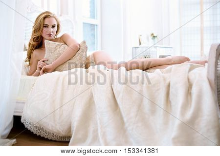 Beautiful Sexy Lady In Elegant White Panties. Fashion Portrait Of Model Indoors. Beauty Blonde Woman