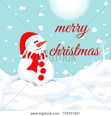 snowman in winter . Christmas symbol .