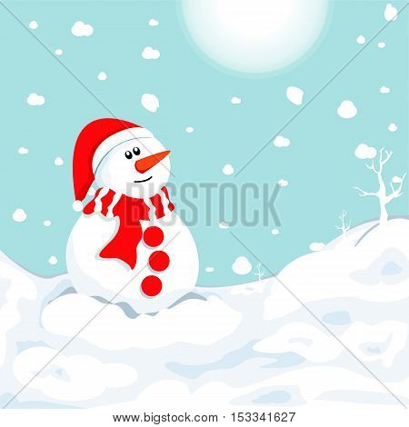 snowman in winter . Christmas symbol .