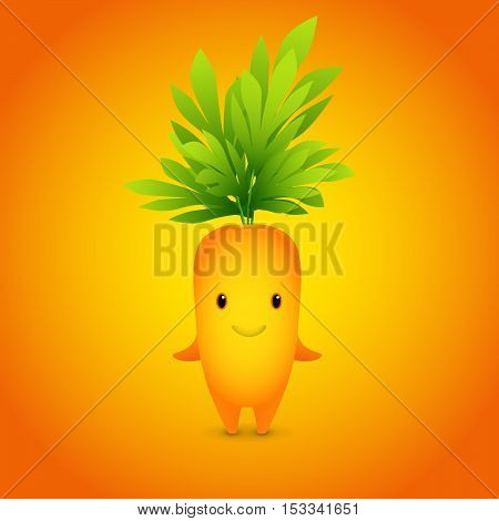 Vector illustration. Baby Orange Carrot Cartoon Character.