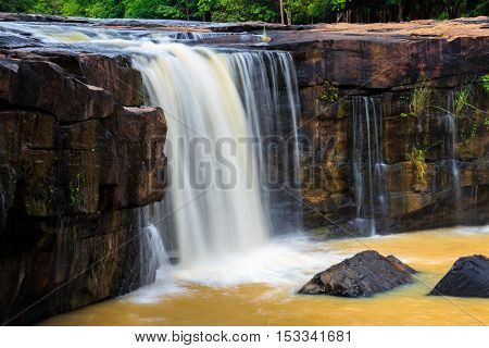 Orange Waterfall Of Thailand In Rainny Season