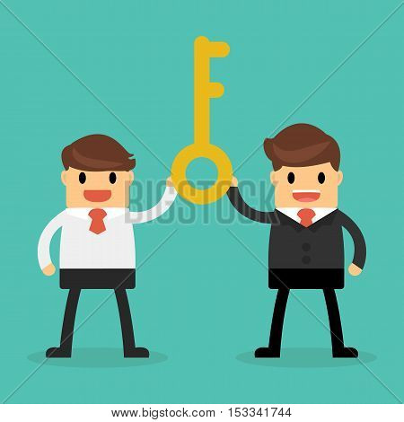 53.Bisnessman holding a golden key to success Successful teamwork concept