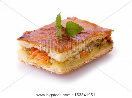 Freshly baked salmon pie .Cake with salmon and potato filling isolated.