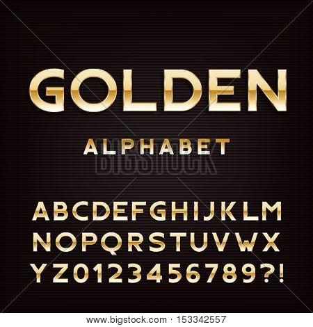 Golden alphabet font. Metal effect letters and numbers. Stock vector typography for your design.