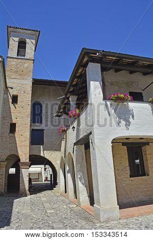 Old historic buildings in the small Italian town of San Vito al Tagliamento in Friuli Venezia Giulia.