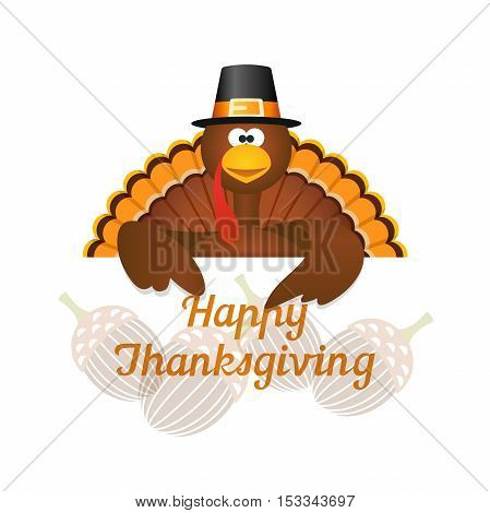 Happy Thanksgiving with turkey and harvest acorn