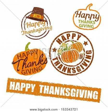 Happy Thanksgiving Harvest Rubber Stamp on white background