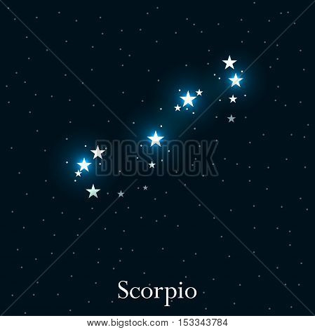 Scorpio Zodiac Sign. Bright Stars In The Cosmos. Constellation Scorpio. Vector Illustration.