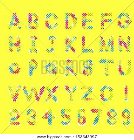 Pixel text and alphabet. Vector
