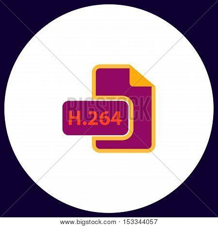 H.264 Simple vector button. Illustration symbol. Color flat icon